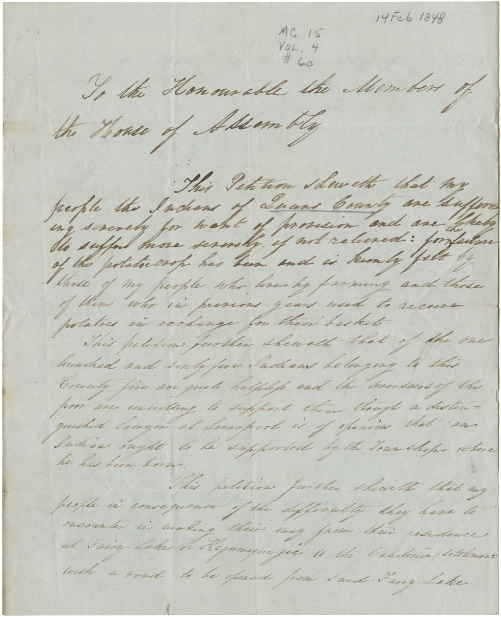Petition of Mi'kmaq chief, Louis Luxy, for relief of Mi'kmaq near Queens County.