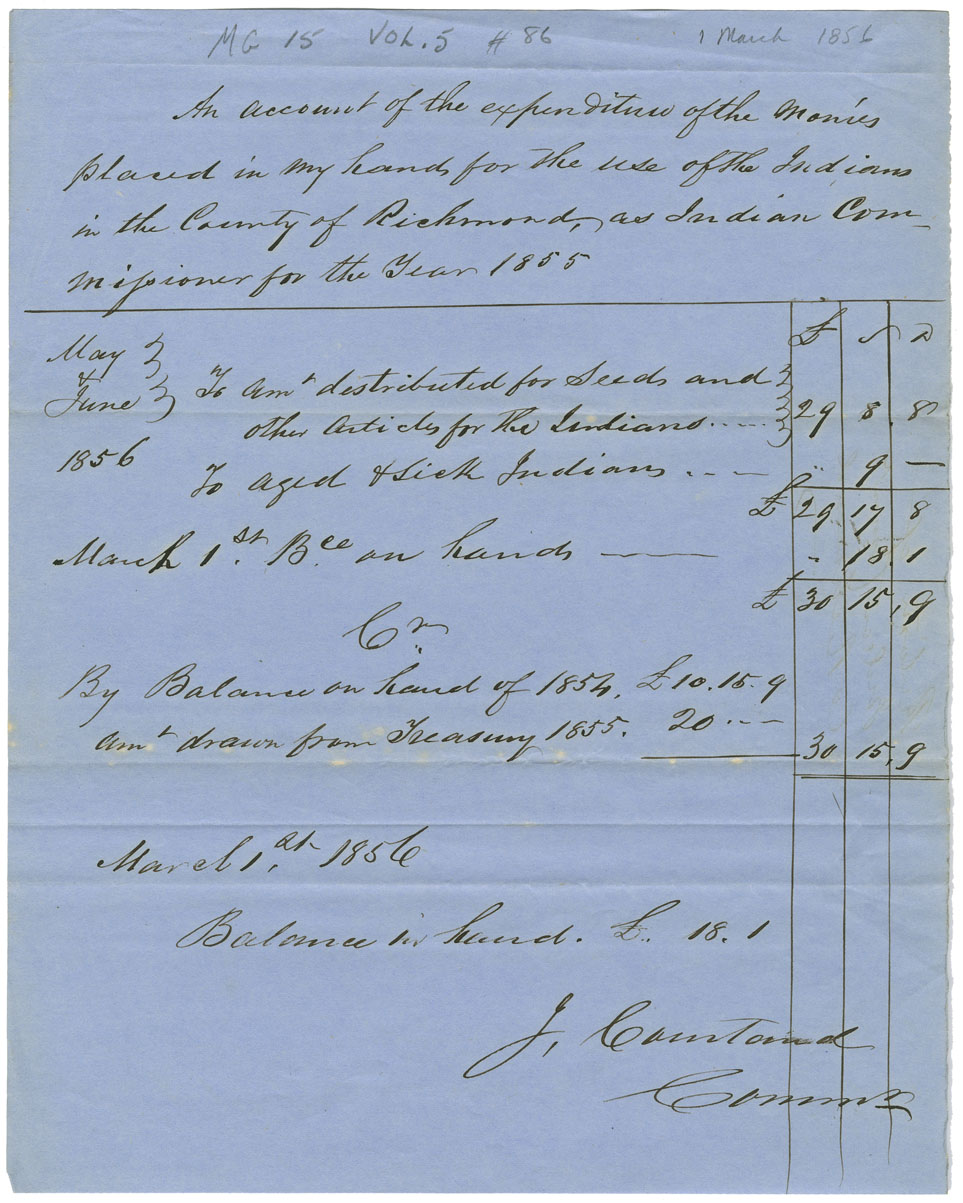 Account of the expenditure of monies placed in control of J. Courtend, Indian Commissioner for Richmond County.