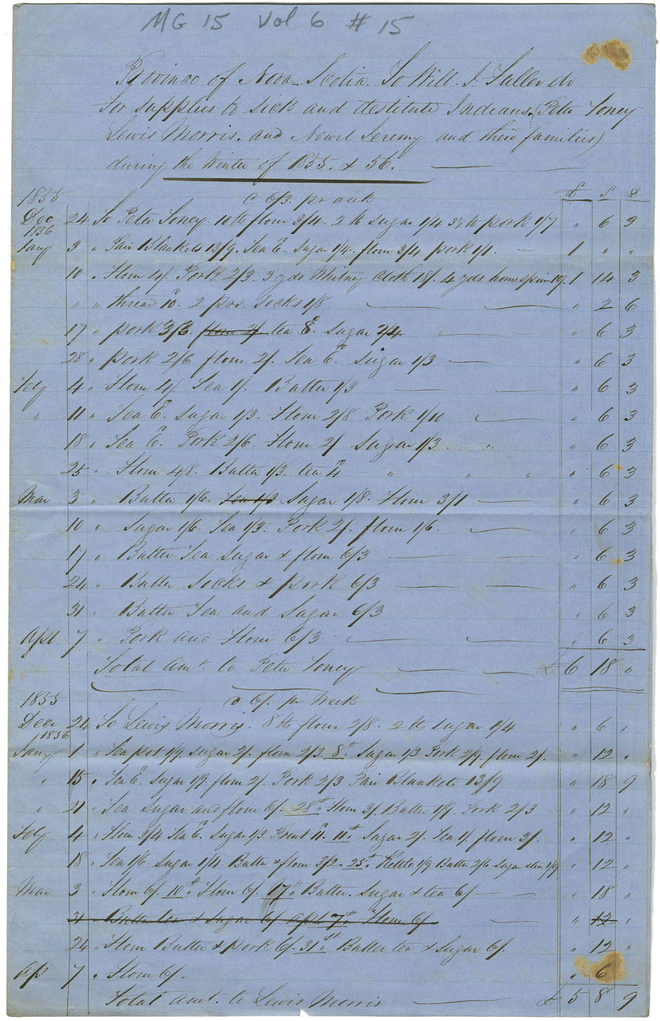 Report of W.J. Fuller of Horton of aid to Mi'kmaq.