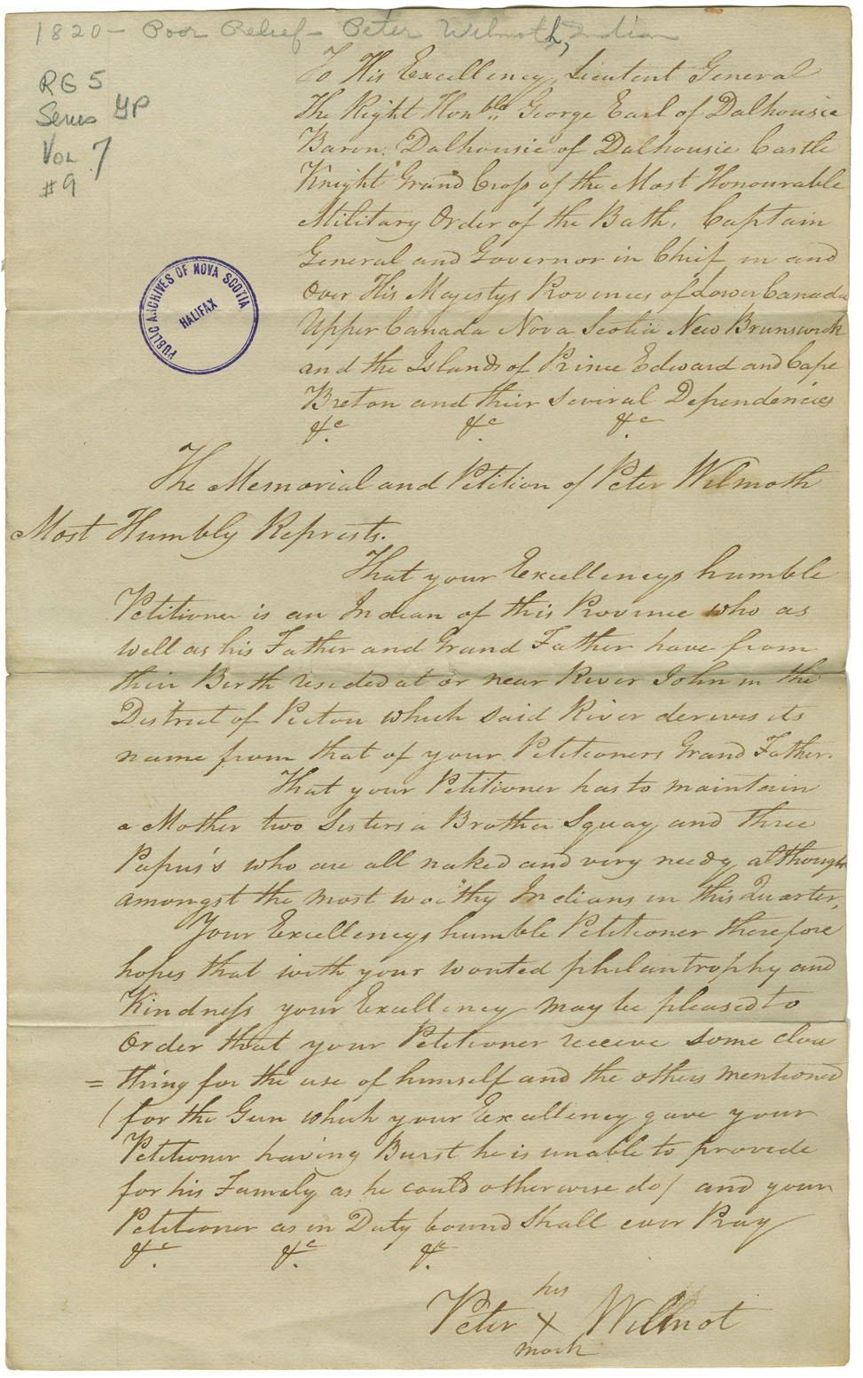 Petition of Peter Wilmot of River John for relief.
