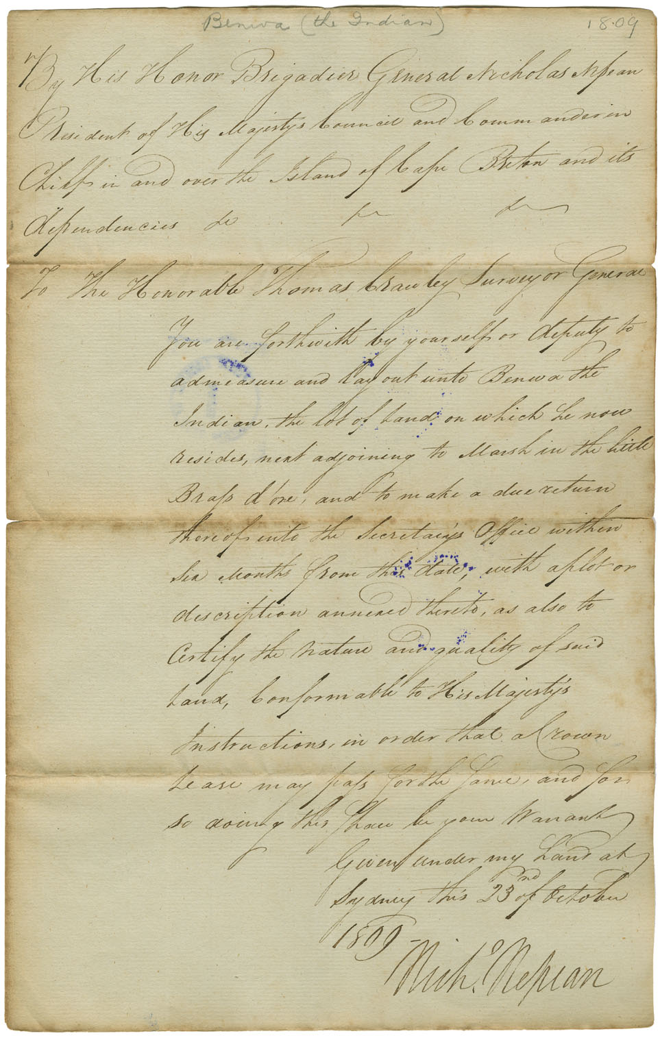 Warrant to survey Little Bras d'Or for Benwa [Benoit?] the Indian.