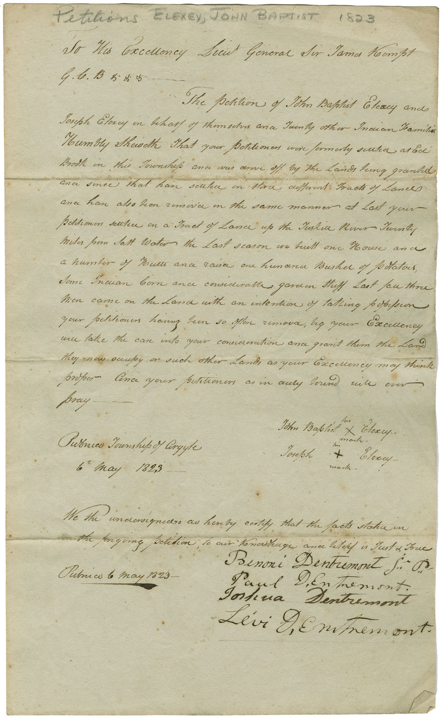 Petition by John Elexey and other Mi'kmaq on behalf of themselves and twenty other Mi'kmaq families, asking a grant of land on which they have settled at Pubnico, twennty miles back from salt water. They have built a house, several huts and raised a hundred bushels of potatoes, Indian corn and garden stuff.