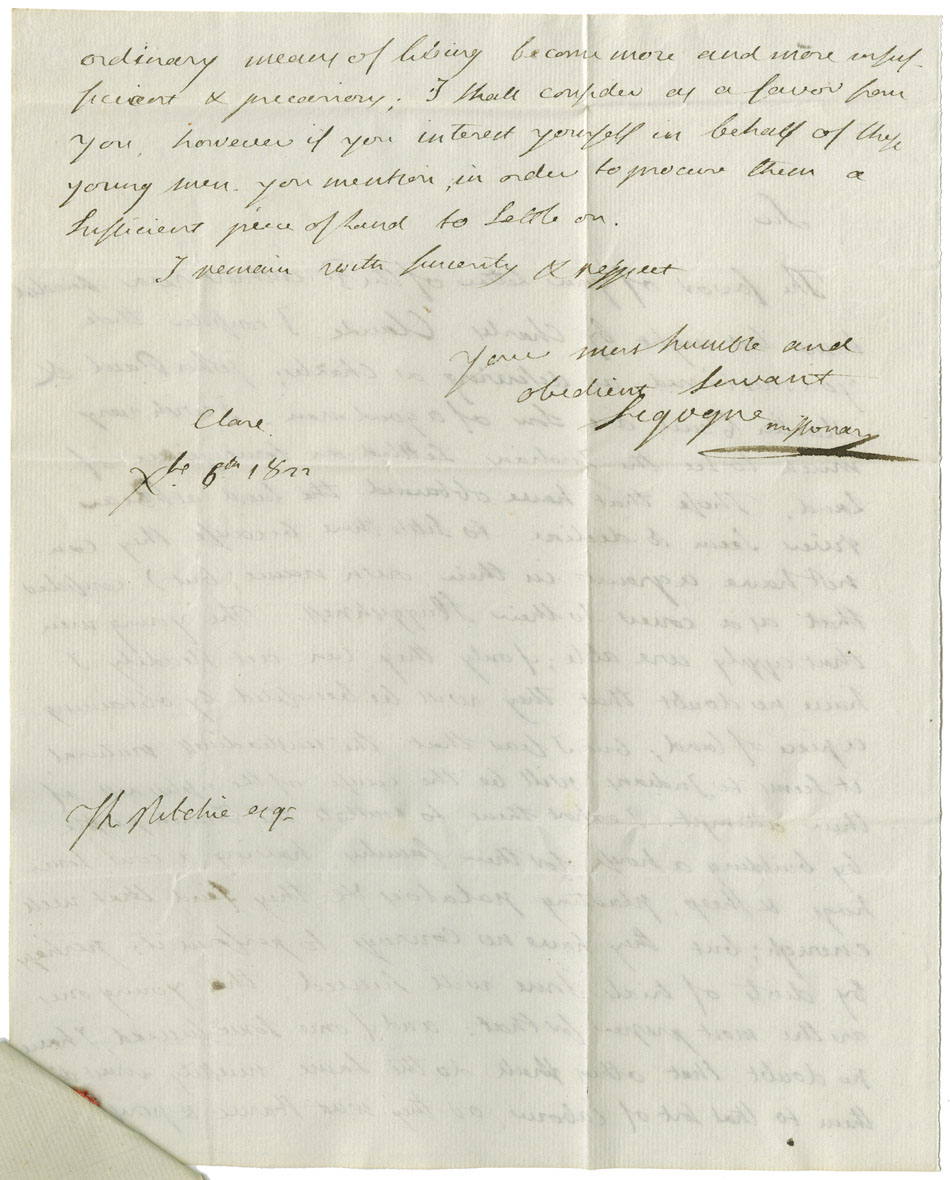 Petition, warrants, surveyor's report and draft, and recommendations regarding Charles Gloade and other Mi'kmaq. The petitioners are hunters. The new road now opening between Annapolis and Liverpool will pass through their hunting grounds and the result will be, in a short time, the Mi'kmaq will lose their means of subsistance. They ask for a portion of land they propose to cultivate. Recommended by Abbe' Sigogne and Commissioners. Approved for Charles, John and Francis Gloade and Malti Paul in 1823. Warrant to survey for John Gloade. Warrant to survey for Charles Gloade. Surveyor's Report and Draft Grant for 200 acres; laid off in 1824.