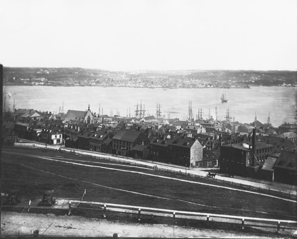 Notman's Halifax Panorama from the Citadel, frame two looking northeast towards Dartmouth across the Harbour with Brunswick Street foreground