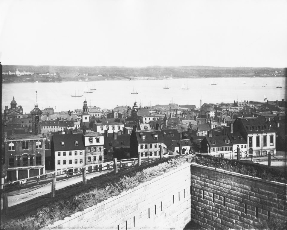Notman's Halifax Panorama from the Citadel, frame four looking east southeast across Halifax Harbour with Brunswick Street and the Citadel foreground