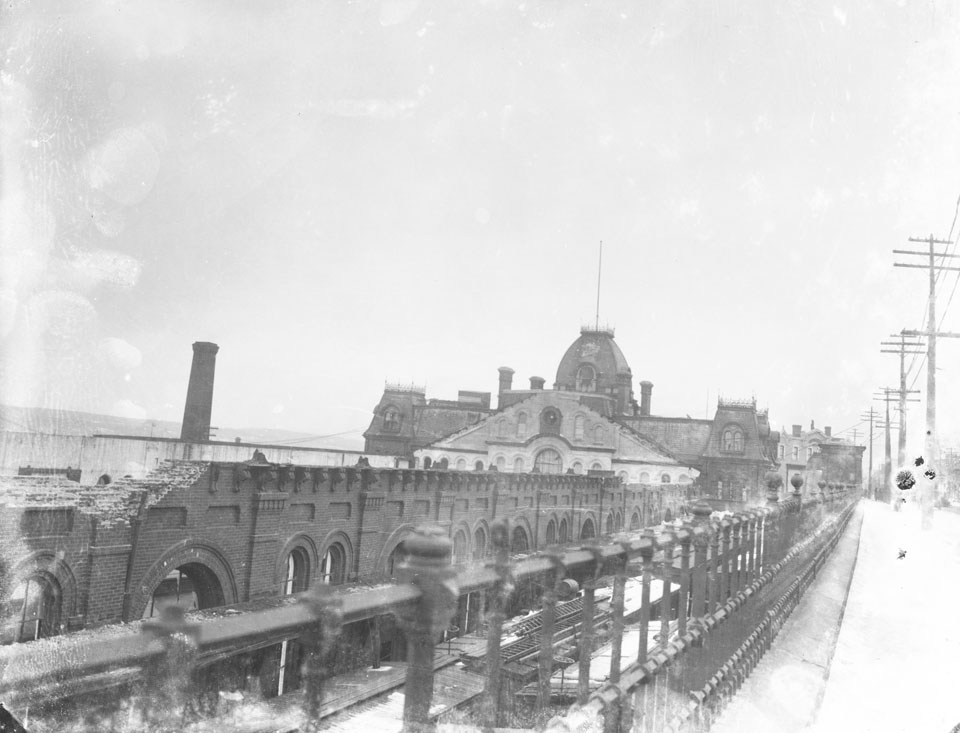 Notman : View of Intercontinental Railway Station, North Street. After the Explosion, showing shattered roof