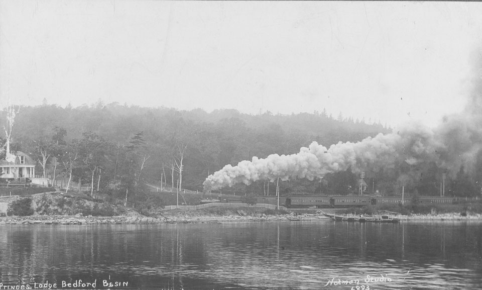 Prince's Lodge, Bedford Basin, with steam train passing, Bedford, Nova Scotia