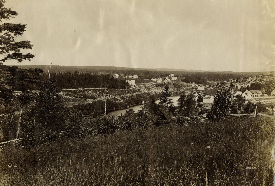 Notman : Sheet Harbour, Nova Scotia, Chisholm Saw Mill just below bridge, on reverse, Sheet Harbour, showing lumber on river