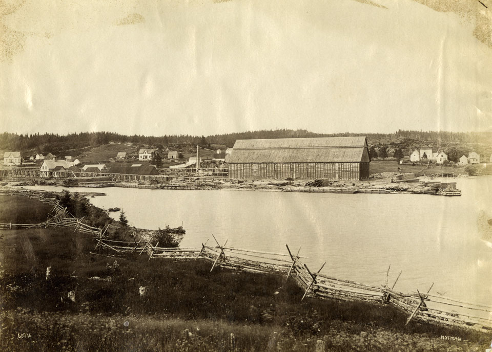 Sheet Harbour, Nova Scotia, on reverse, Lumber Mill built by Havelock McC. Hart on West River, 1880, purchased by Rhodes and Curry, 1902