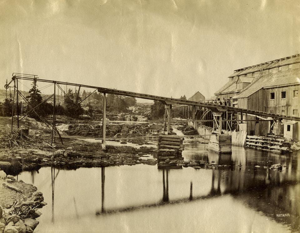 Notman : Lumber Mill built by Havelock McC. Hart on West River, 1880, purchased by Rhodes and Curry, 1902, on reverse, Sheet Harbour, Nova Scotia,