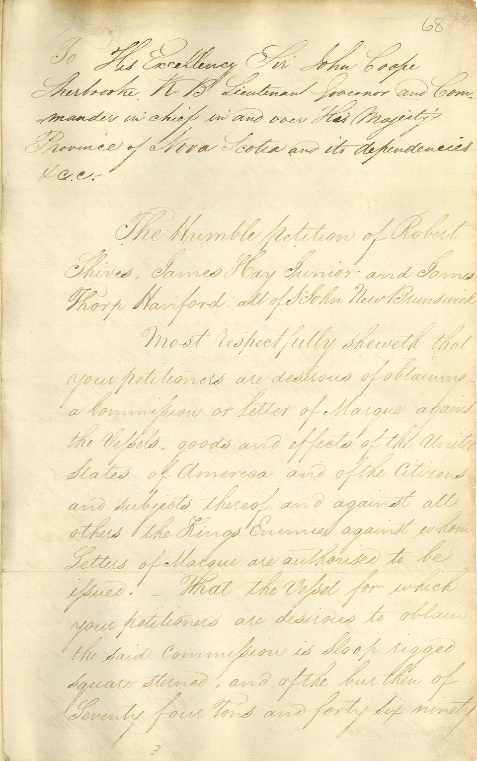 Petition of owners of the sloop <i>Dart</i> for a letter of marque