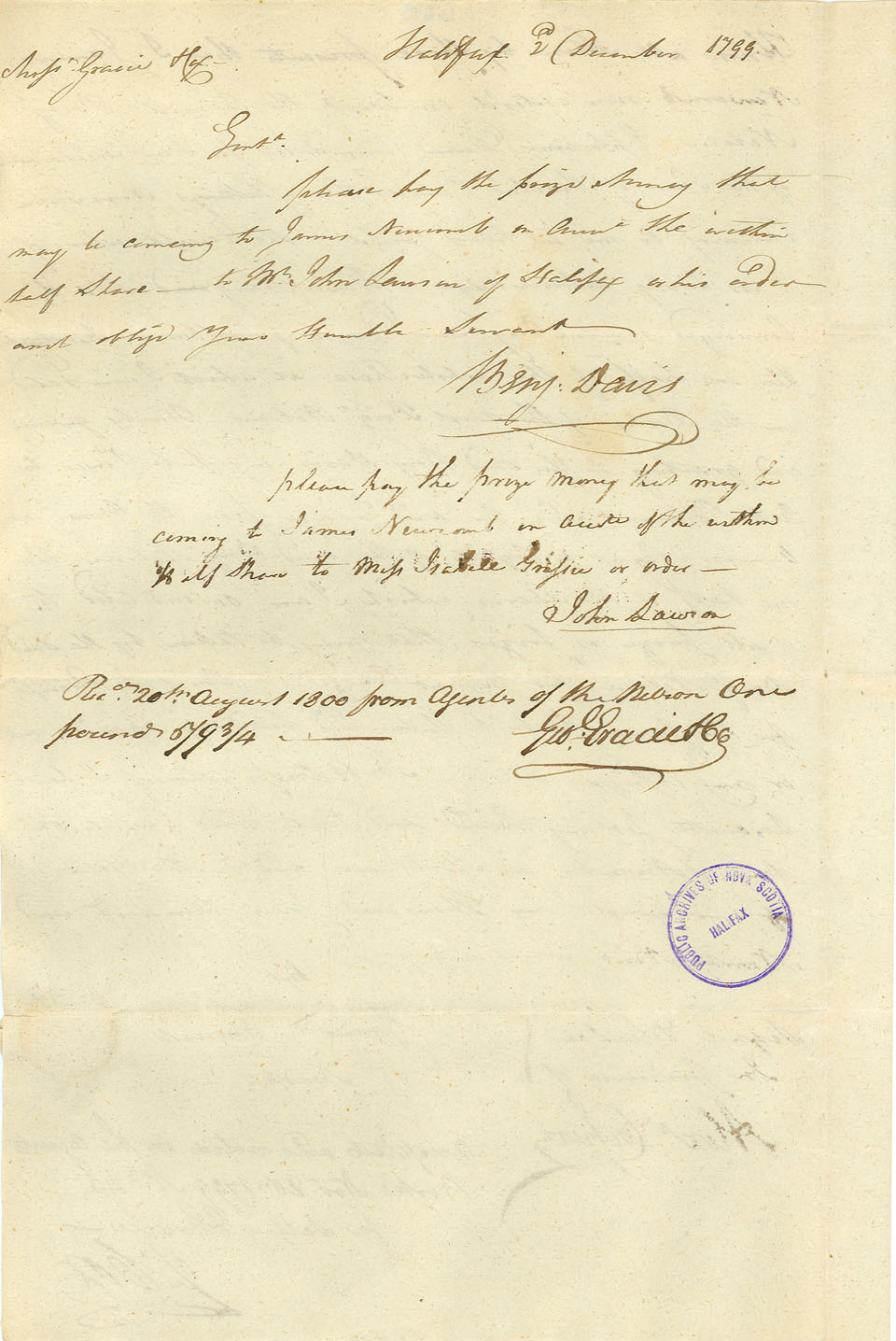 Bill of Sale for Half Share in Brig <i>Nelson</i>