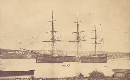 British naval vessel HMS <i>Zealous</i> at anchor in Halifax Harbour