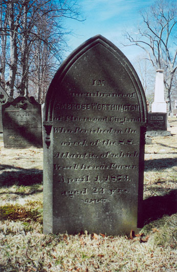 Gravestone of Ambrose Worthington in Camp Hill Cemetery, Halifax