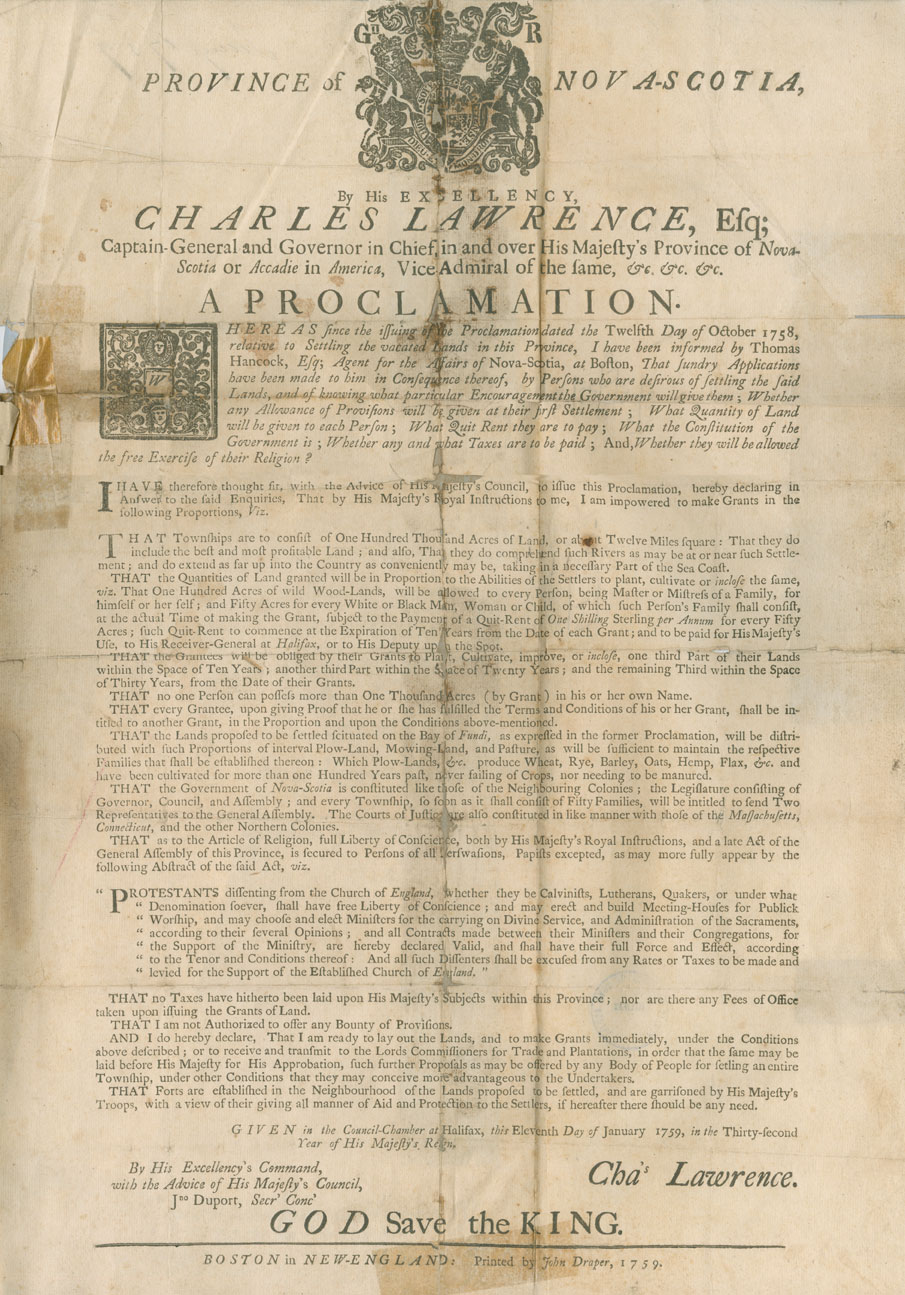 Printed proclamation by Governor Lawrence…