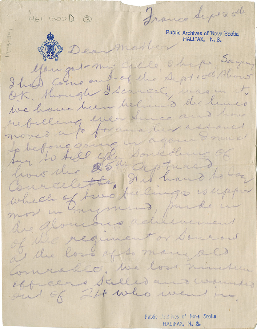 Letter to his (Capt. L. Howard Johnstone's) mother. France, Sept. 25, 1916