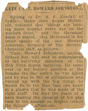 News clipping - Late Capt. Howard Johnstone