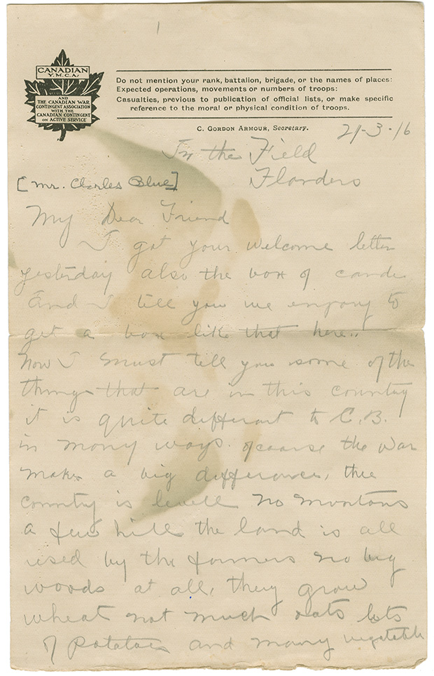 Letter to Mr. Charles Blue from Cpl. D. Morrison. In the field, Flanders, March 2, 1916