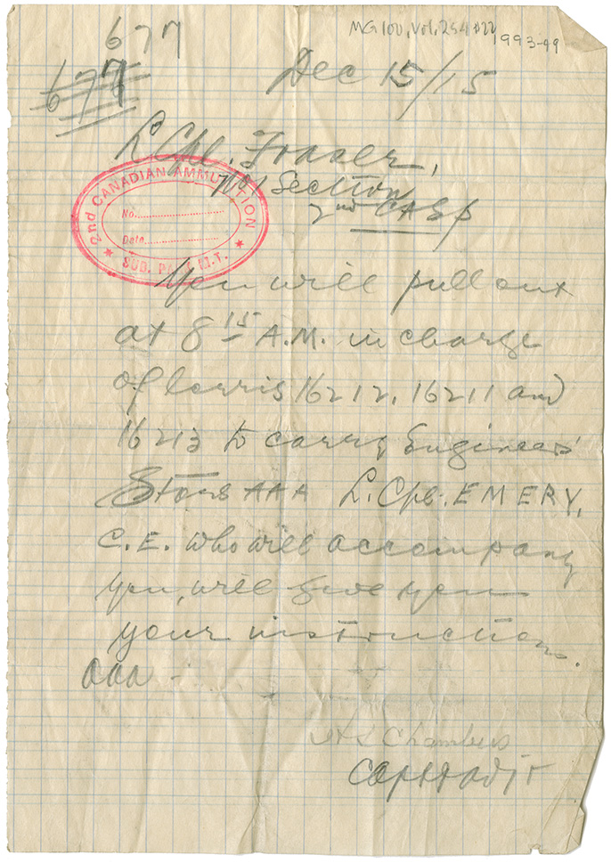 Field orders from [?] Chambers to L. Cpl. Fraser. Dec. 15, 1915