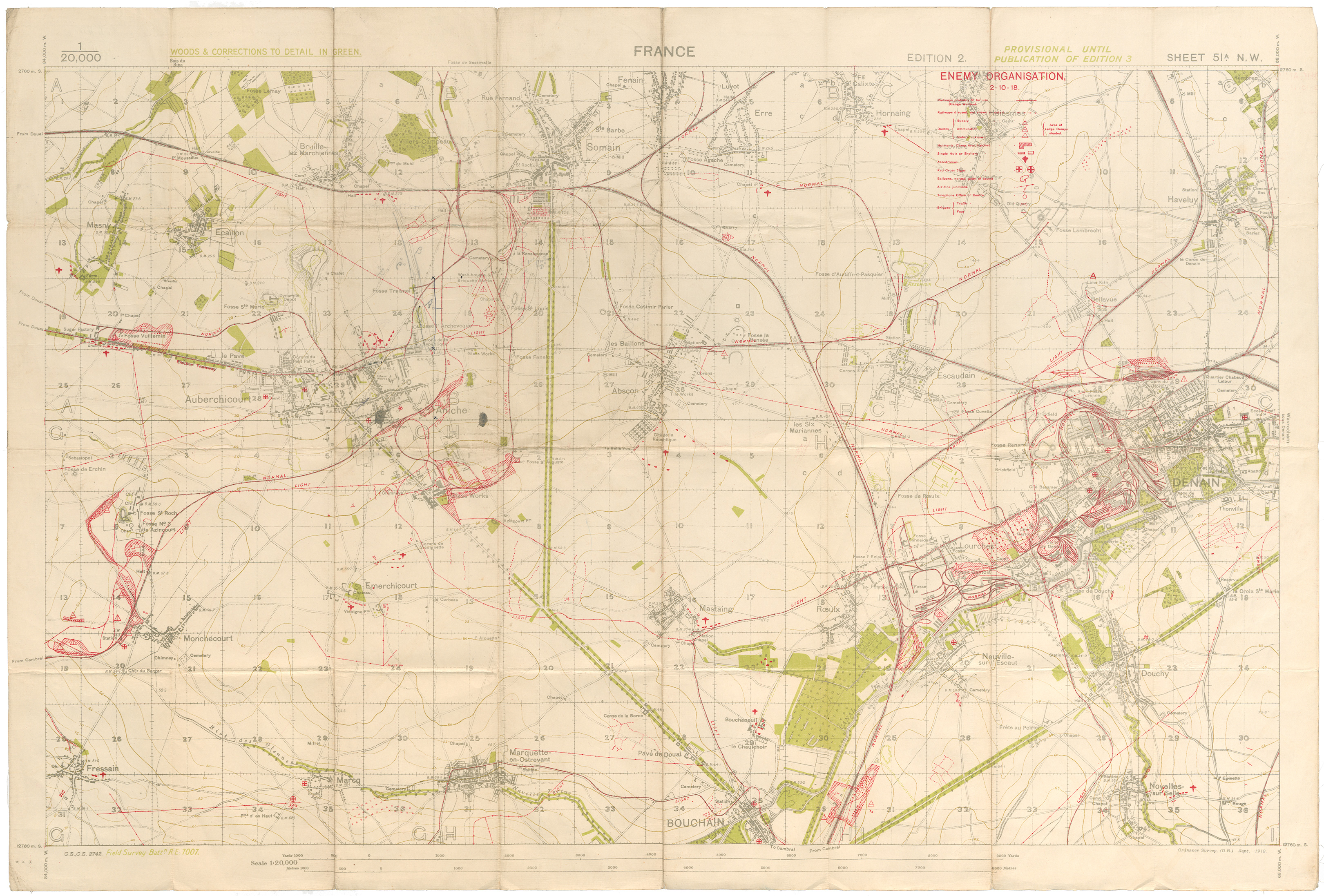 Map of France Sheet 51 A N.W.