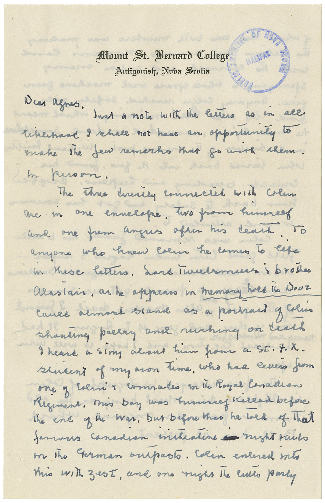 Letter from Mary (Agnes L. Macdonald's sister ) to Agnes (wife of Angus L. Macdonald)