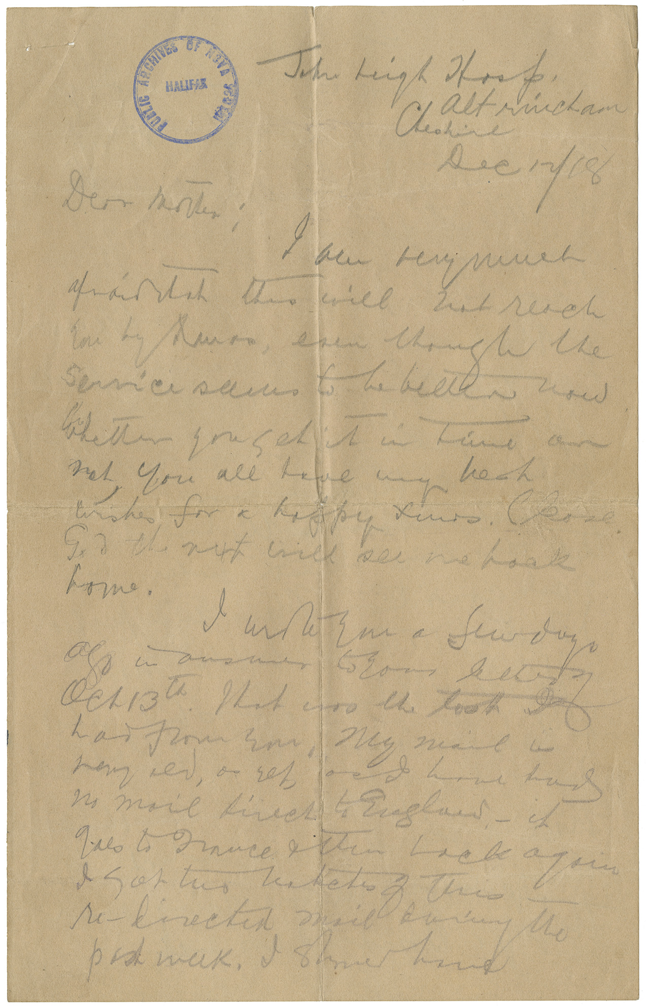 Letter from Angus L. Mcdonald to his mother