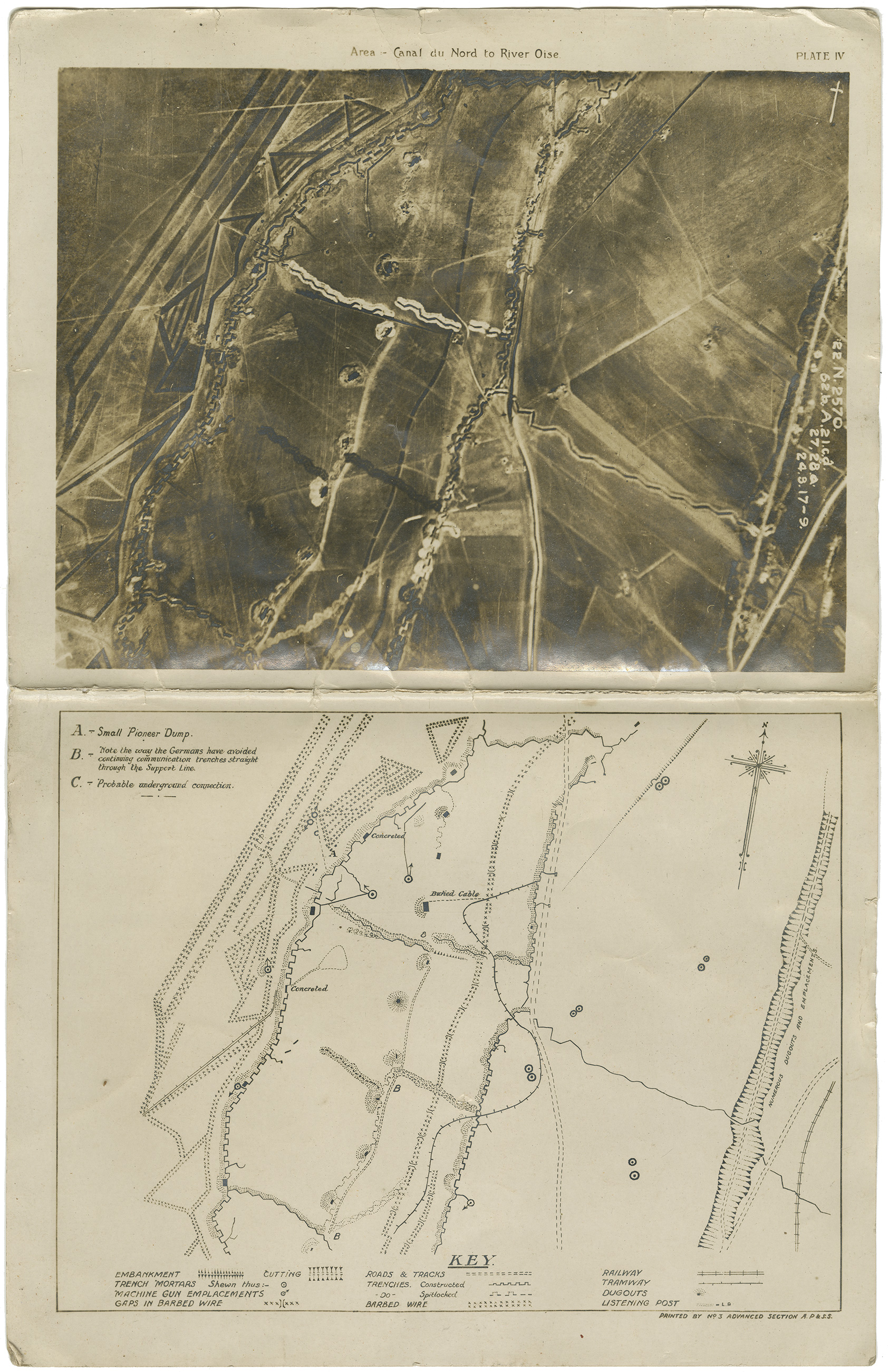 Map with key and photo of Area - Canal du Nord to River Oise