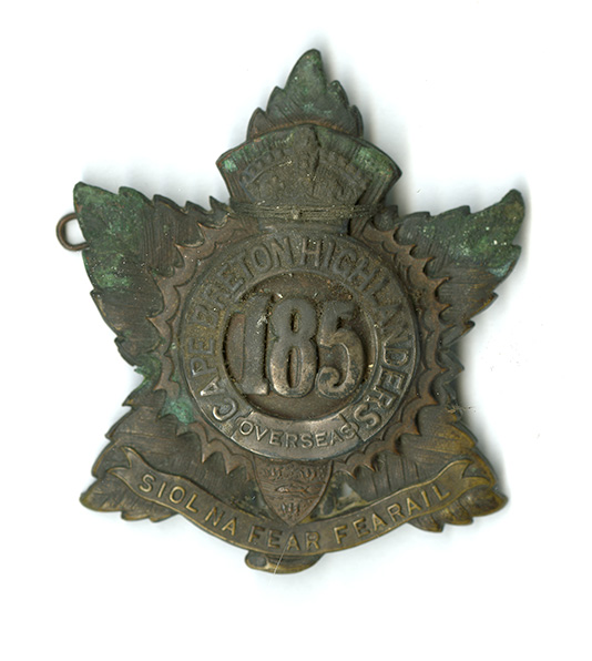Cap Badge of the 185th Cape Breton Highlanders Overseas