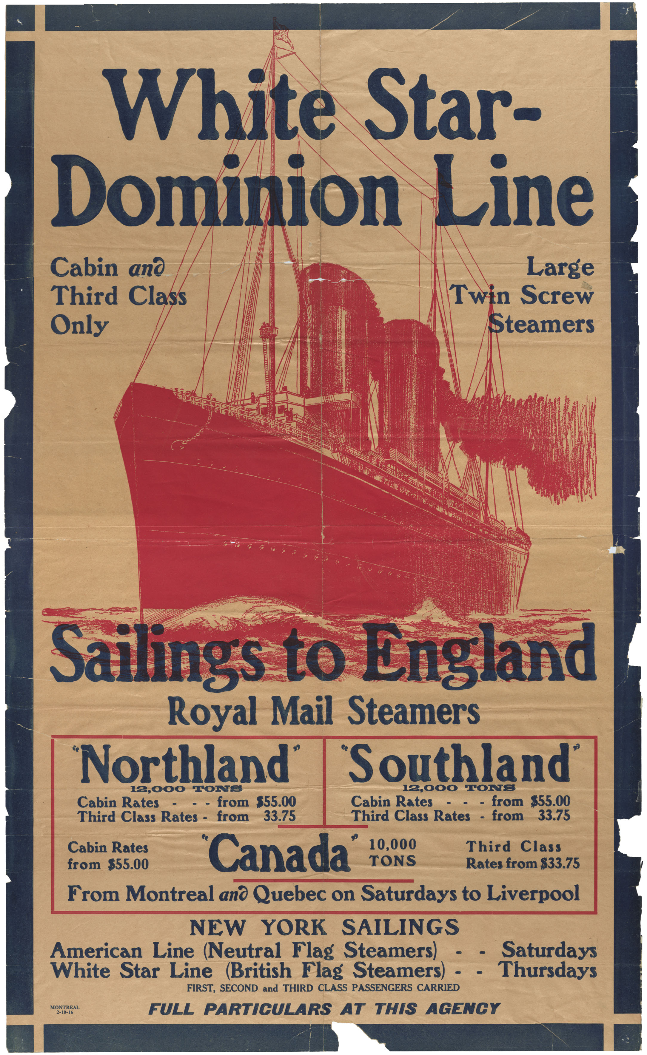 White Star-Dominion Line  -  Sailings to England -  Royal Mail Steamer