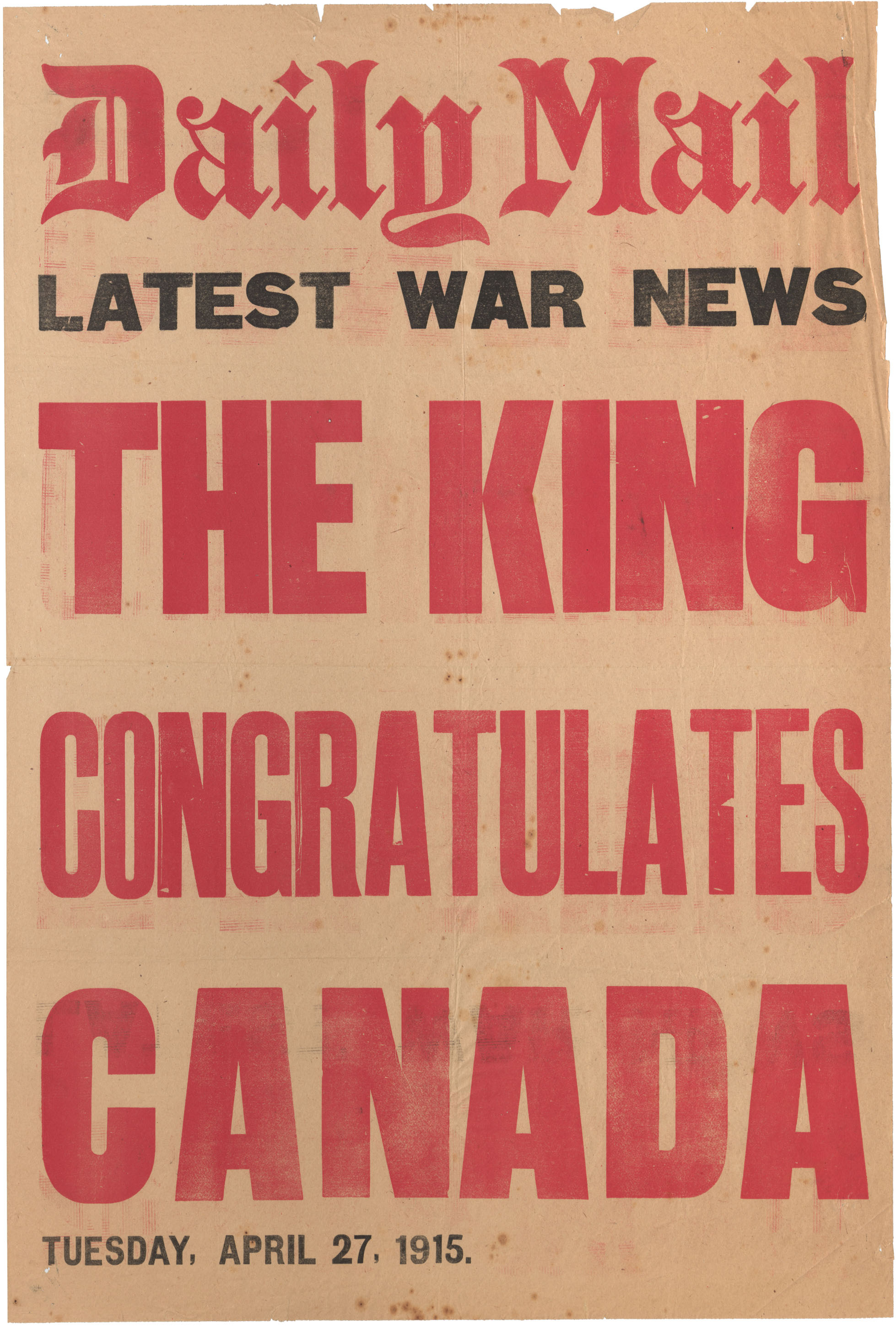 Daily Mail  - Latest War News -  The King Congratulates Canada