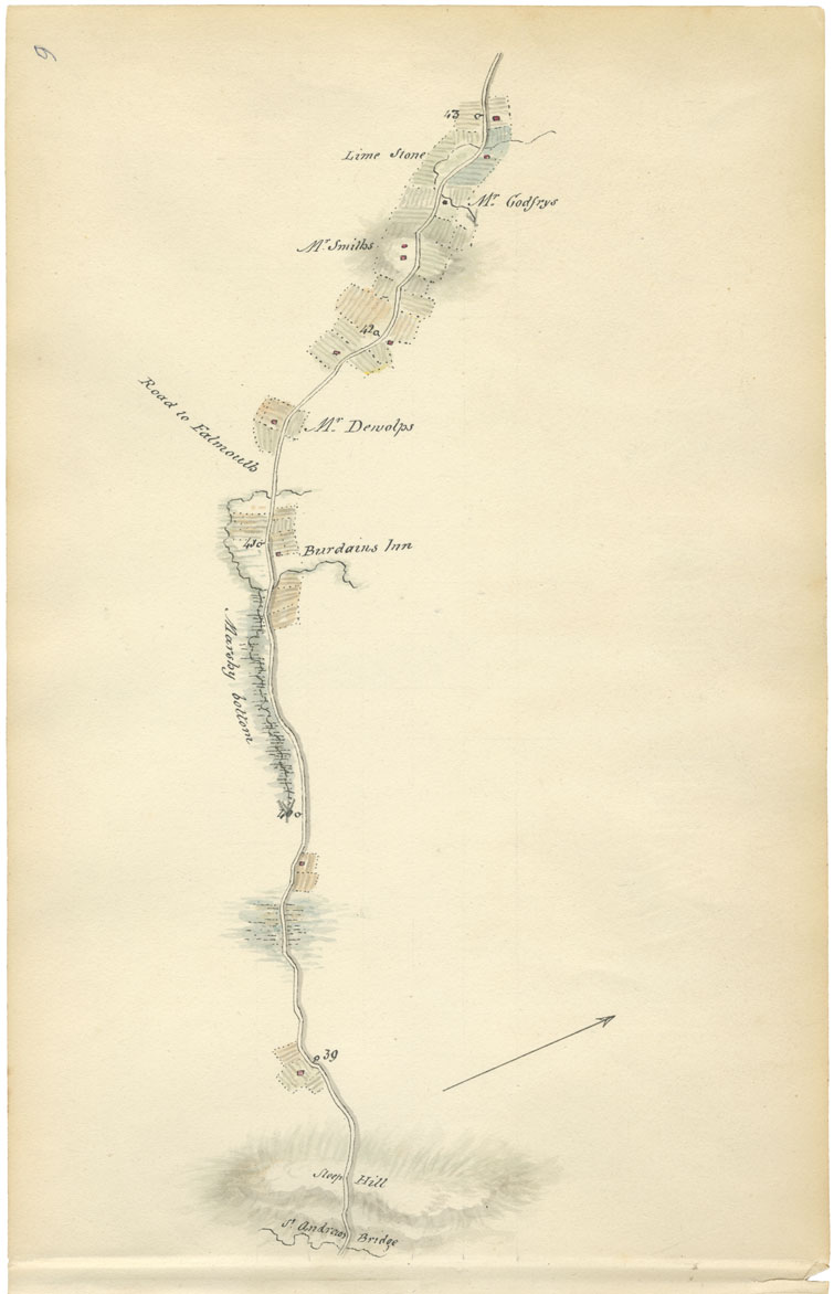 Sheet 9: Mile 39 to Mile 43: St. Andrew's Bridge to road to Falmouth
