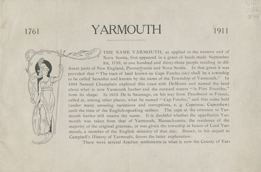 Souvenir of the 150th Anniversary of the Settlement of Yarmouth Nova Scotia