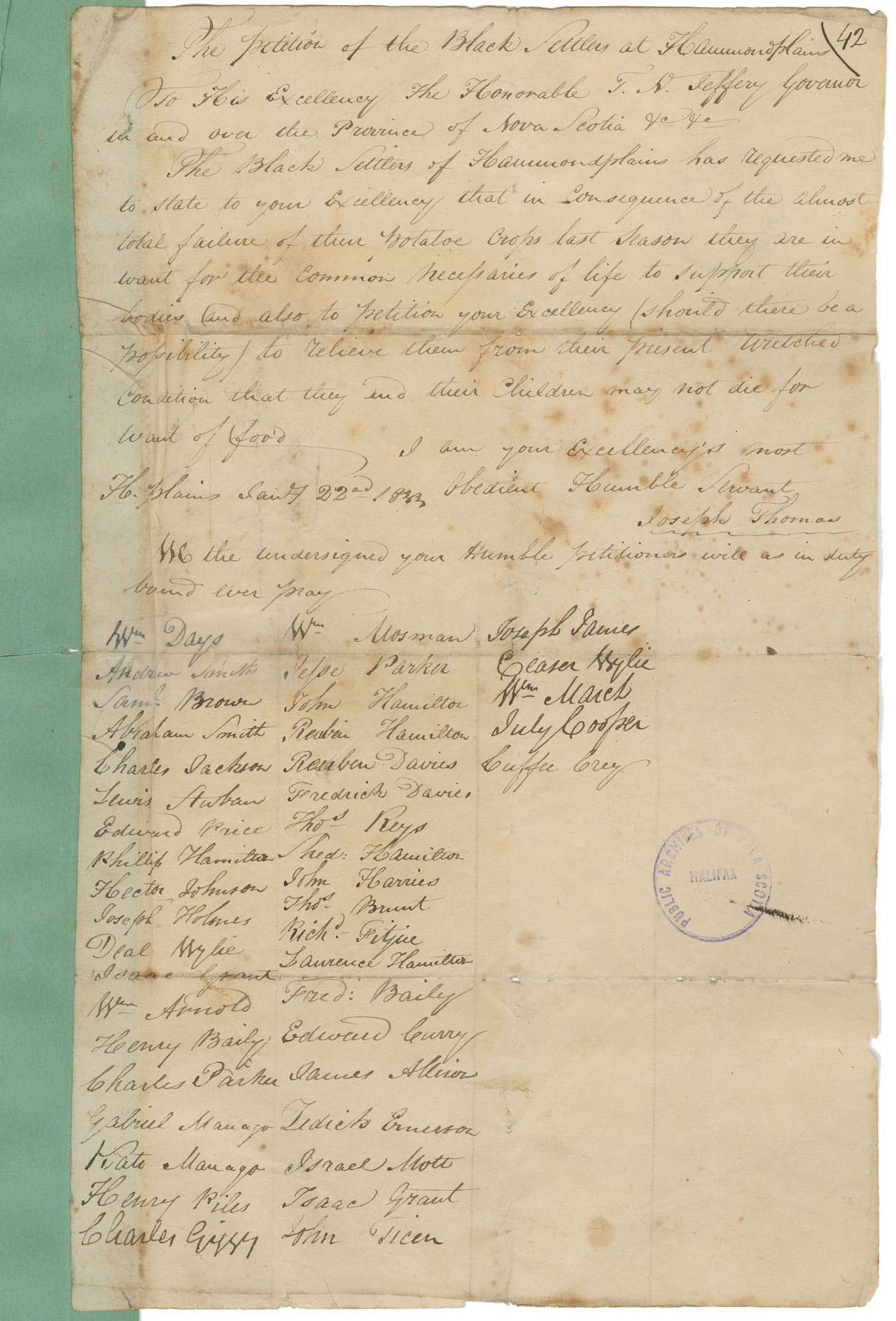 african-heritage : Petition from Black settlers at Hammonds Plains to Thomas N. Jeffery, Collector of Customs, praying for relief, as they are in a state of de