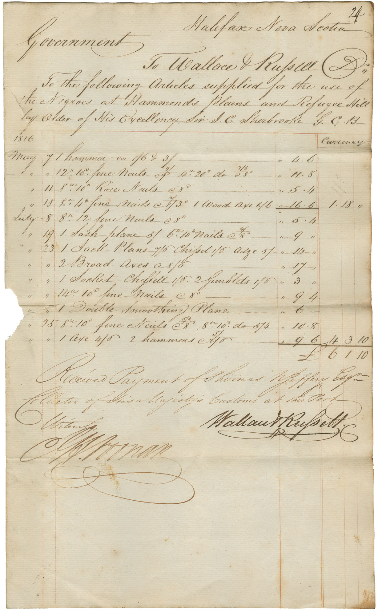 african-heritage : Accounts against Government for supplies for Black Refugees during the year 1816, with the following suppliers: John H. Noonan, Lewis DeMoli