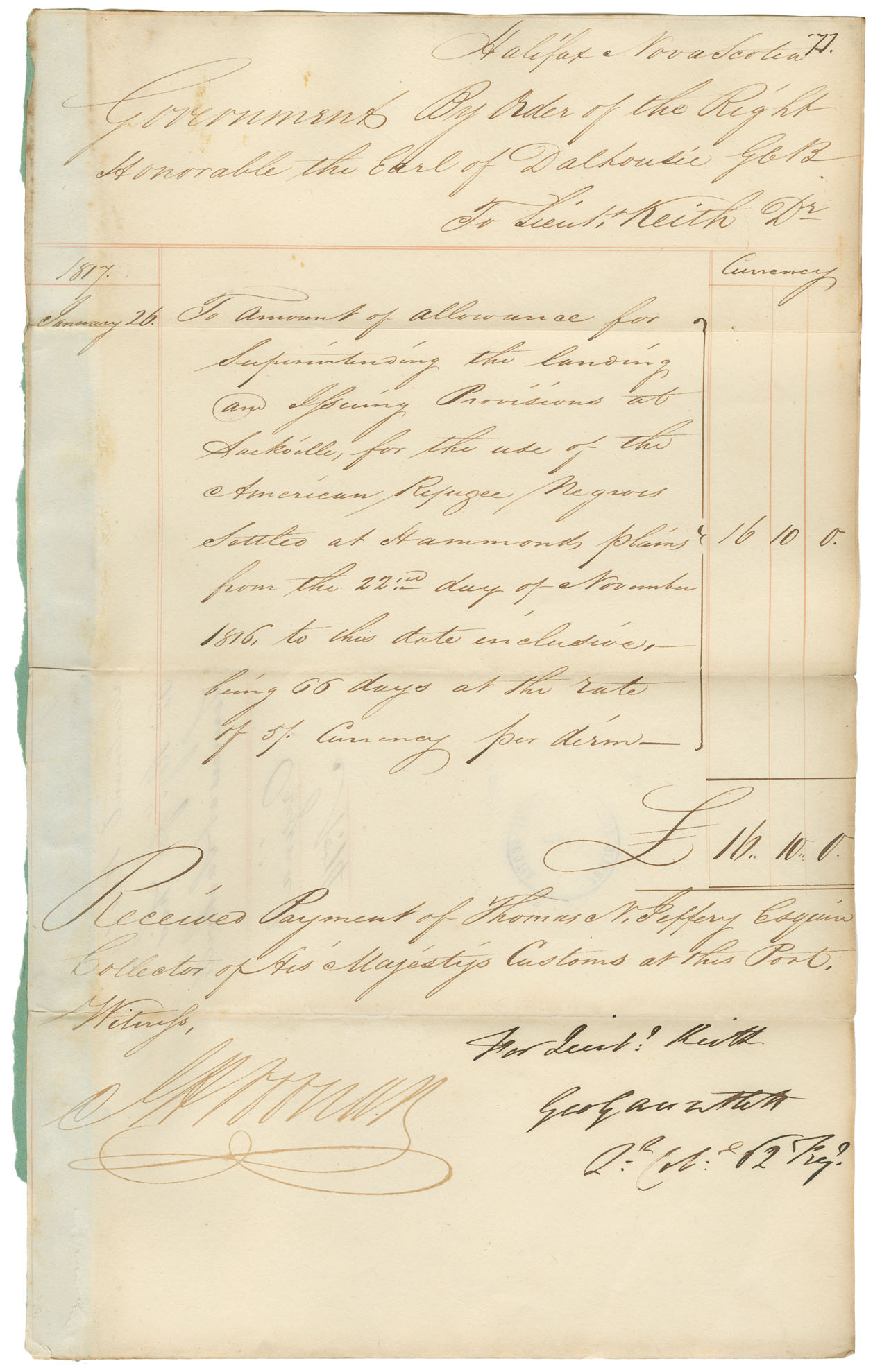 african-heritage : Accounts against Government for Black Refugees up to 26 December 1816, with the following suppliers: Seth Coleman, Theophilus Chamberlain, J