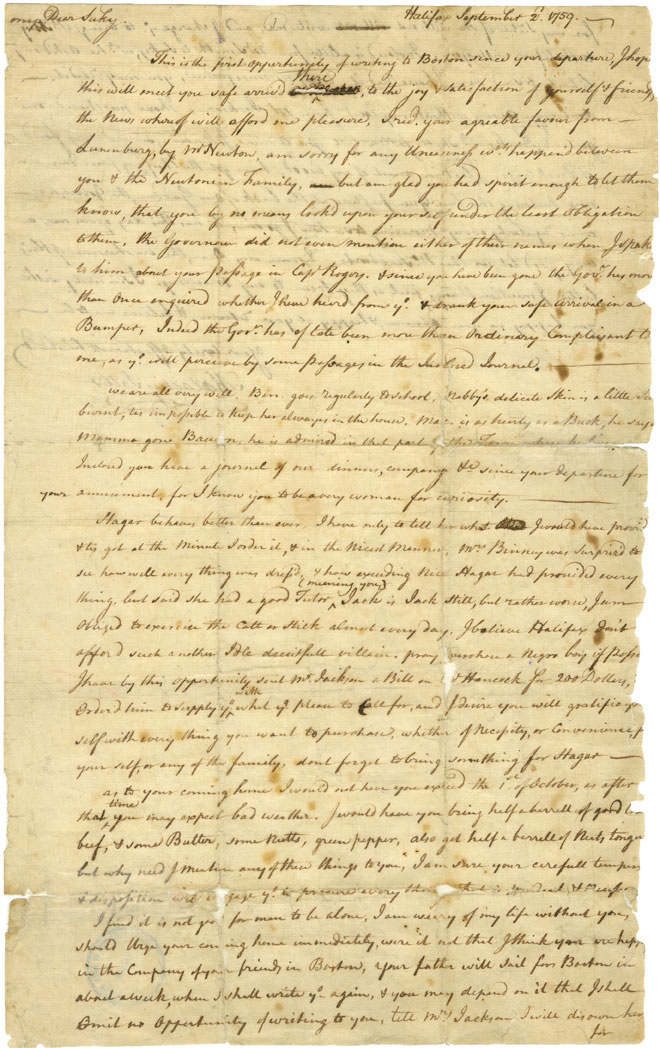Letter of Malachy Salter to his wife about a slave