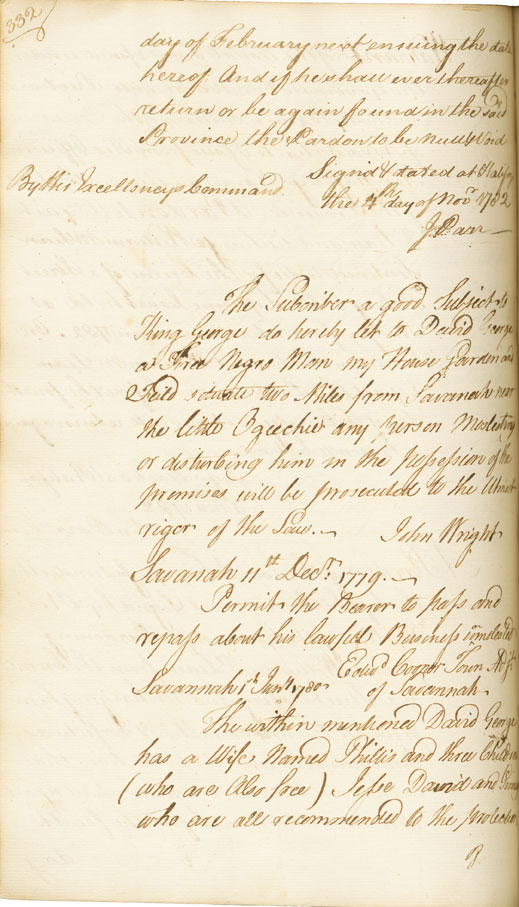 David George's lease and passports, 1779-1781