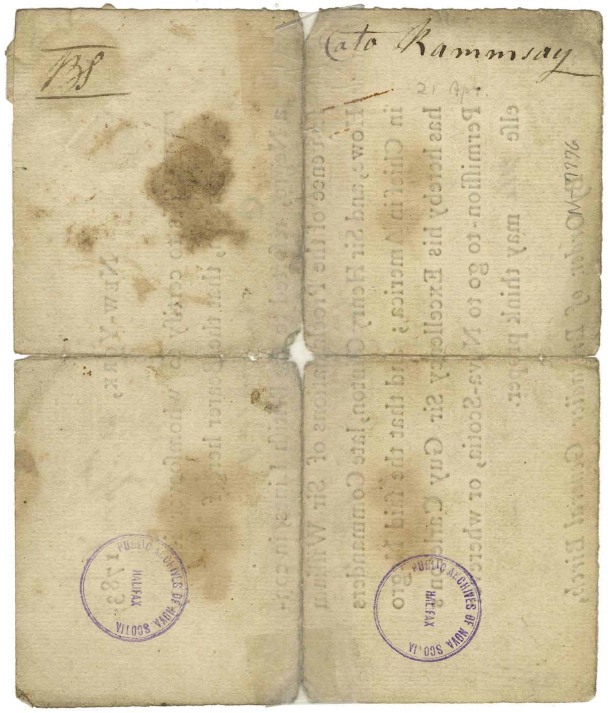 Passport for Cato Ramsay to emigrate to Nova Scotia
