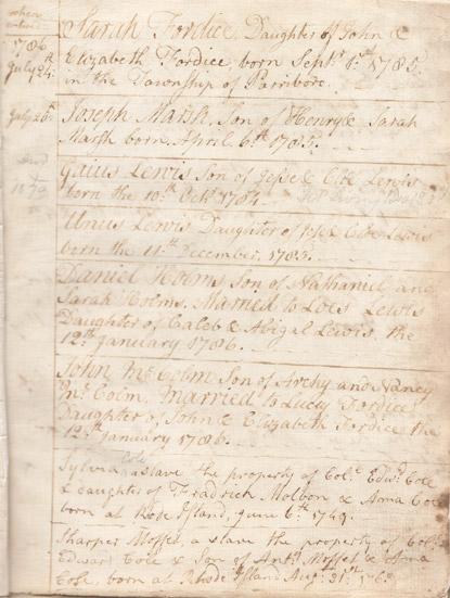 Record of Col. Edward Cole's ownership of five slaves, Parrsboro