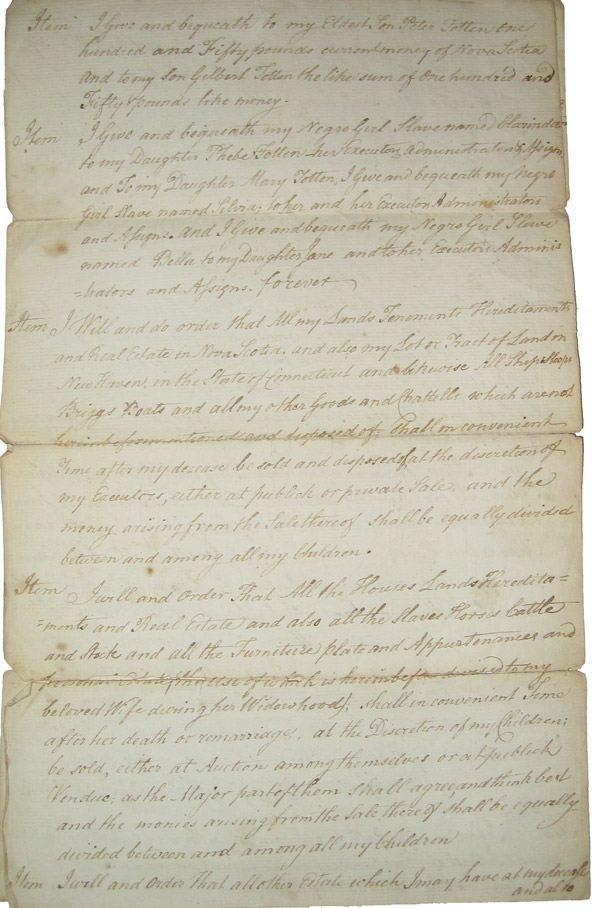 Will of Joseph Totten of Annapolis