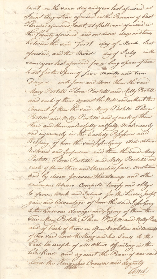 <i>R. v. Gray</i> (indictment of Jesse Gray for selling Mary Postell as a slave and kidnapping Flora Postell her daughter)