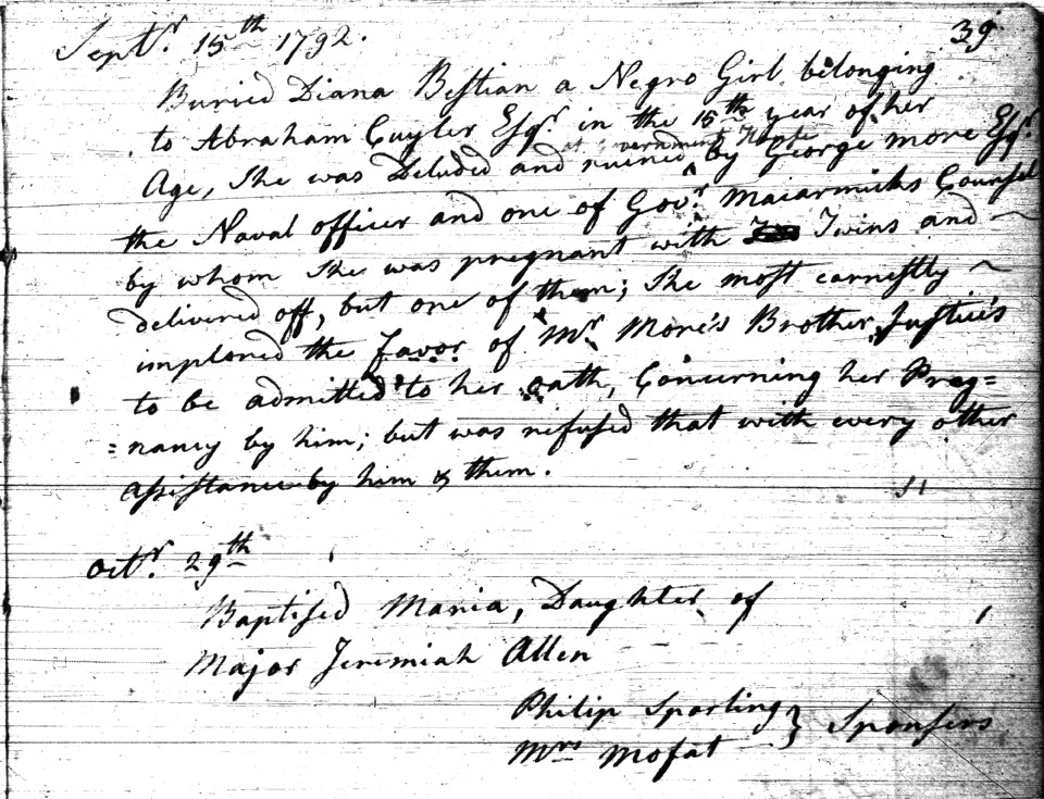 Burial record of Diana Bustian, slave of Adam Cuyler, Sydney