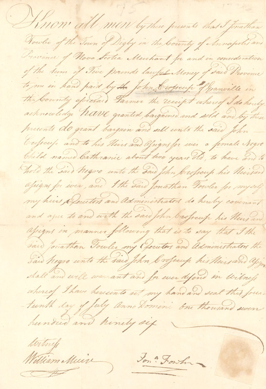 Deed of sale of a slave child
