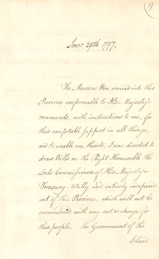 Wentworth's instructions regarding the recently arrived Jamaican Maroons