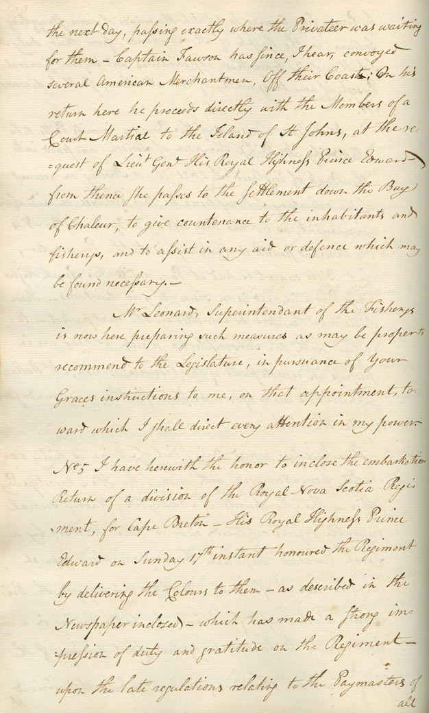 Letter from Sir John Wentworth to the Duke of Portland