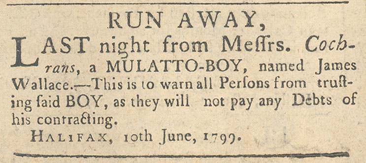 Advertisement about runaway indentured servant, James Wallace