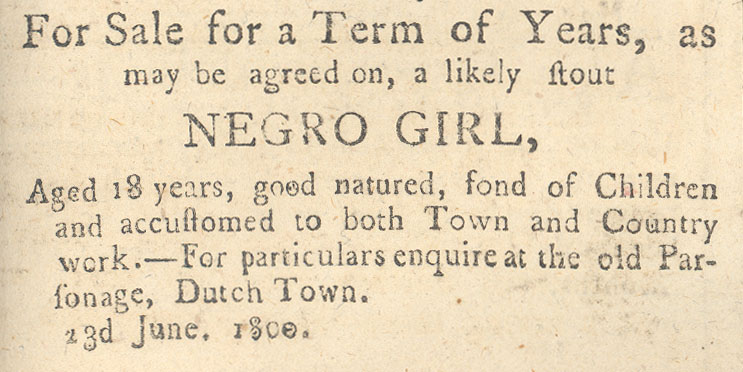 Advertisement for lease of a woman slave