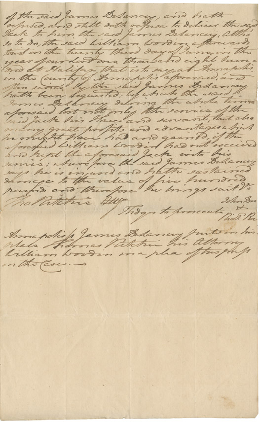<i>DeLancey v. Woodin</i> (plaintiff's statement of claim against the defendant for harbouring 'Jack', a fugitive slave)