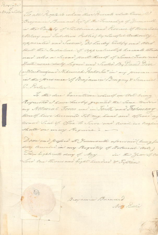 Indenture of David Dize