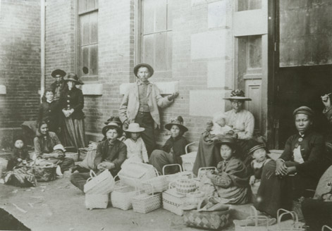 Selling baskets on market day, Halifax